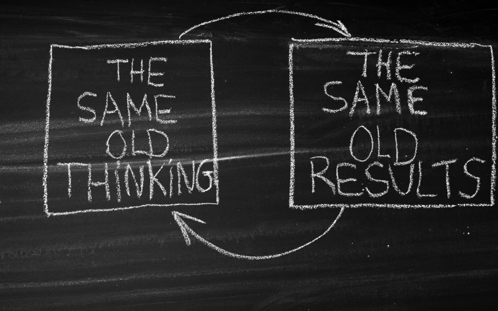 The Same Old Thinking The Same Old Results on chalkboard