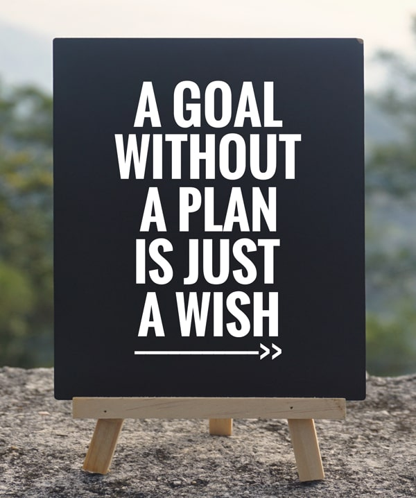 Sign saying 'a goal without a plan is just a wish' helping you understand how to change the i'm not good at anything lie